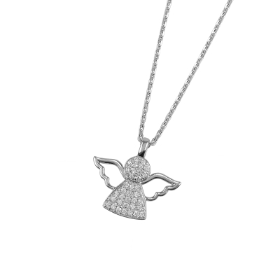 c1493155bc0d DOOSTI Damen Halskette mit Anhänger Engel 925 - Silber rhodiniert