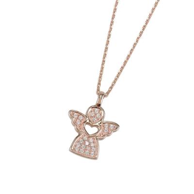 9e367d181894 DOOSTI Damen Halskette mit Anhänger Engel 925 - Silber Rosegold vergoldet